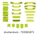flat vector ribbons banners... | Shutterstock .eps vector #732081871