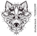 abstract dog head tattoo... | Shutterstock .eps vector #732082399