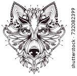 abstract dog head tattoo... | Shutterstock .eps vector #732082399