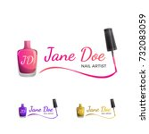 nail art logo template with... | Shutterstock .eps vector #732083059