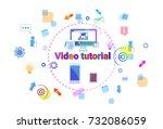 video tutorial learn online...   Shutterstock .eps vector #732086059
