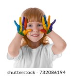 cute girl with paint on face... | Shutterstock . vector #732086194