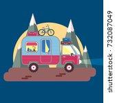 mobile recreation. house on...   Shutterstock .eps vector #732087049