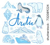 arctic hand drawn illustrations.... | Shutterstock .eps vector #732089224