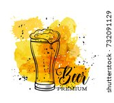 poster beer mugs on a yellow... | Shutterstock .eps vector #732091129
