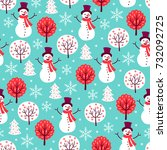 christmas seamless pattern with ... | Shutterstock .eps vector #732092725