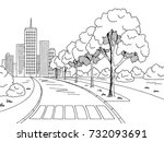 street road graphic black white ... | Shutterstock .eps vector #732093691