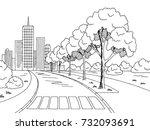 street road graphic black white ... | Shutterstock .eps vector #732093691