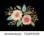 embroidered bouquet of... | Shutterstock .eps vector #732095539
