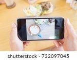 hand hold phone take brunch... | Shutterstock . vector #732097045