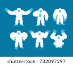 Stock vector yeti set poses and motion bigfoot happy and yoga abominable snowman sleeping and angry monster 732097297