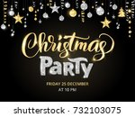 christmas party poster template ... | Shutterstock .eps vector #732103075