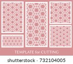 decorative panels set for laser ... | Shutterstock .eps vector #732104005