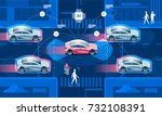 wireless network of vehicle.... | Shutterstock .eps vector #732108391