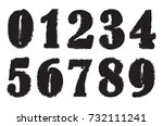 grunge numbers set.vector... | Shutterstock .eps vector #732111241