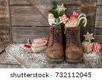 leather boots with christmas... | Shutterstock . vector #732112045