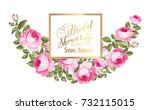 Stock vector marriage invitation card with custom sign and flower frame over white background vector 732115015