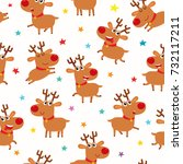 seamless pattern with cute... | Shutterstock .eps vector #732117211