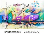 oil painting. abstract colorful ... | Shutterstock . vector #732119677