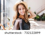 lovely fair haired girl with... | Shutterstock . vector #732122899