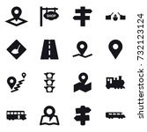 16 vector icon set   pointer ... | Shutterstock .eps vector #732123124