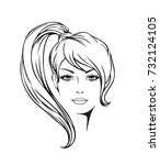 face of a beautiful young woman ... | Shutterstock .eps vector #732124105