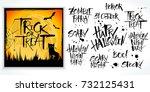 halloween lettering set with... | Shutterstock .eps vector #732125431