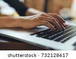 hands typing on laptop... | Shutterstock . vector #732128617
