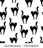 Stock vector black cats silhouettes seamless pattern halloween design 732136531