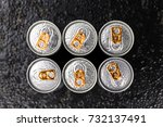 energy drinks on a vintage... | Shutterstock . vector #732137491