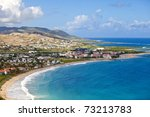 overhead view of resort city in st kitts - stock photo