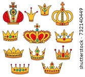 crowns doodle color ul icons... | Shutterstock .eps vector #732140449
