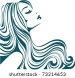 beautiful girl with long thick... | Shutterstock .eps vector #73214653