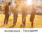 multicultural young friends... | Shutterstock . vector #732148099
