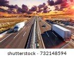 trucks and highway.... | Shutterstock . vector #732148594