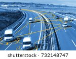car and technology. autonomous... | Shutterstock . vector #732148747