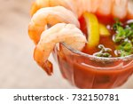 glass with shrimp cocktail and... | Shutterstock . vector #732150781