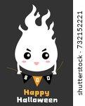 happy halloween.flying ghost... | Shutterstock .eps vector #732152221