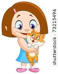 Little Girl Holding Her Kitten