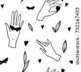 seamless pattern with hands on... | Shutterstock .eps vector #732167455