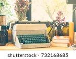 vintage typewriter  ornaments ...   Shutterstock . vector #732168685