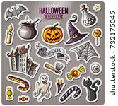 set of happy halloween cartoon... | Shutterstock .eps vector #732175045