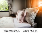 bed maid up with clean white... | Shutterstock . vector #732175141