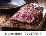 juicy medium beef rib eye steak ... | Shutterstock . vector #732177844