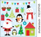 festive christmas celebration   Shutterstock .eps vector #732195745