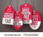 christmas red sale tags vector... | Shutterstock .eps vector #732202081