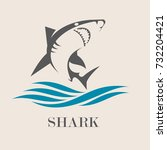 icon of  shark with sea waves....