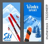 winter landscape with snowboard.... | Shutterstock .eps vector #732204859
