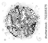 hand drawn doodle winter... | Shutterstock .eps vector #732205375