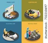 carsharing 2x2 design concept... | Shutterstock .eps vector #732210697